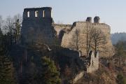Castle Ruins Dívčí Kámen and  Vltava River 02-2014