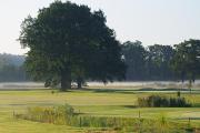 Hluboká nad Vltavou-ranní mlha nad golfovým hřištěm