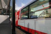 míjení vlaků Matterhorn Gotthard Bahn