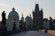 kupole kostela sv.Františka z Assisi a Staroměstská mostecká věž