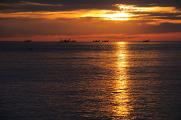 Parco del Conero - rybářské lodě za svítání