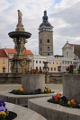 Samson-Brunnen und Schwarzer Turm auf Platz Premysl Otakar II. I