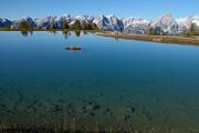 horské panorama ve vodní nádrži na Hutterer Höss