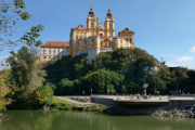 baroque monastery in Melk above arm of Danube